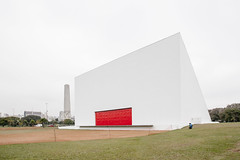 Ibirapuera Park, Oscar Niemeyer (Scott Norsworthy) Tags: park red building niemeyer brasil architecture oscar entrance ibirapuera paulo canopy sao auditorium