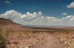 (Coloraura) Tags: road sky newmexico film clouds analog canon landscape desert ae1 roadtrip analogue nm moutains