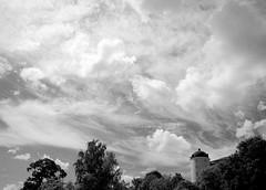 The sky above Uppsala IV (p2-r2) Tags: nikon f3 f3hp blackandwhite film agfa apx 100 uppsala sweden sky clouds city buildings slott castle trees