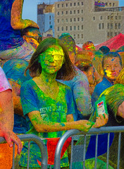 She Must be on Holi Day (Steve Taylor (Photography)) Tags: holi festival barricade glasses building fence colourful black green yellow red vivid fun newzealand nz southisland canterbury christchurch city cbd texture hindu abir powder