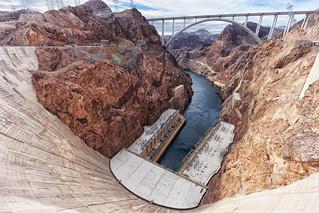 Hoover Dam and the bridge over Colorado river
