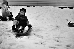 Backyard sledding