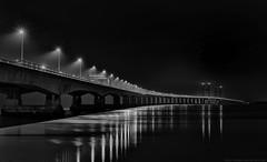 Night Crossing (MarkWaidson) Tags: severn bridge second crossing night lights mono bw