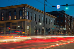 Kirby House (MichellePhotos2) Tags: kirbyhouse kirby grandhaven michigan westmichigan twilight night bluehour lightpainting traffic traffictrails trails nikon d800e nikond800e historic brick building bar restaurant gilmore