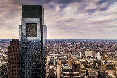 Comcast Center - Philadelphia (Brentg33) Tags: ifttt 500px comcast center architectural architecture building buildings one liberty place observation deck phila philadelphia pa reflection reflections sky city cityscape a6000 sony alpha zeiss wide angle pennslyvania cloud clouds cloudscape