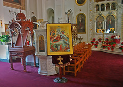 St Nicholas Greek Orthodox Cathedral, Tarpon, Springs, Florida (5 of 9) (gg1electrice60) Tags: tarponsprings florida fl pinellascounty stnicholasgreekorthodoxcathedral saintnicholas stnicholas orthodox cathedral church catholic christmas christbirth jesusbirth birthday newyears faith religion holydays northpinellasavenue northpinellasave npinellasave npinellasavenue chairs tables plants flowers statues paintings murals candles crosses crucifixes flags banners baptismalfountain