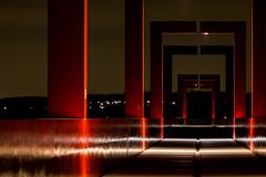 Perspective (Cathy_abd) Tags: architecture perspective danikaravan ricardobofill axemajeur valdoise cergy iledefrance art arturbain passerelle red night landscape light cathyabd france lumière