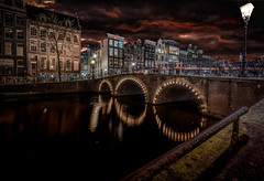 Amsterdam Canal (mcalma68) Tags: keizersgracht architecture amsterdam canals cityscape night longexposure clouds
