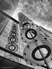 Reach For The Sky (manxmaid2000) Tags: architecture london england office building monochrome ec3 plantationplace fenchurchstreet 30 mono upright circles sculpture reflection glass installation beacon financial centre district city steel tower mast arup uk up discs