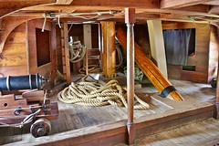 The front part of the tween deck on the Susan Constant (nutzk) Tags: virginia jamestown settlement susanconstant boat ship sail sailboat cannon tween deck