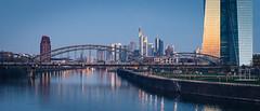 Morning-Train (Guenzelsen) Tags: 2017 35mm 5d art blaue bridge brücke deutschland ezb eisenbahn frankfurt hessen lichter main osthafen sigma skyline spiegelungen stunde train zug blue hour sonnenaufgang sunrise