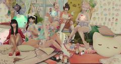 Knock Knock. (Tiramiisuu Resident) Tags: secondlife sl tamagosenbei kawaii pastel cute sleepover indoors femboy soft fashion gacha bunnies