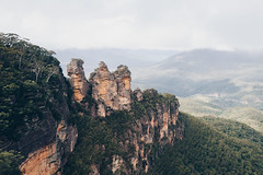 The Three Sisters (TomSmith98) Tags: 3 sisters australia blue mountains walk moody clouds landscape d90 nikon contrast forrest rock cliff outdoor mountain cloud sky peak erosion nsw three valley vista view outcrop nature green geography geology