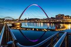Quayside Curves (Chris Lishman) Tags: newcastleupontyne quayside millenniumbridge bridge tynewear tynebridge rivertyne river blues blue bluehour twilight city cityscape railings