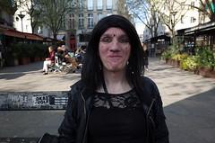 Parisian (nicolastopor) Tags: parisian weirdo strange queer portrait widow transgenre face man bench sitting paris gay