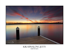 Serene sunset at Kikatinalong jetty Australia (sugarbellaleah) Tags: sunset dusk water lake jetty timber pylon wood serene relaxation leisure sky longexposure motion clouds red vivid pretty beautiful travel tourism shoalhaven stgeorgesbasinaustralia australia waterway tranquility balmy unwind vacation holiday sensational wellbeing peaceful idyllic