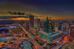 Baltimore sunset & light trails (cmfgu) Tags: baltimore md maryland innerharbor worldtradecenter observatory topoftheworld skyscraper building view sunset clouds colorful dusk goldenhour bluehour lighttrails streets traffic city urban cityscape landscape town hdr highdynamicrange