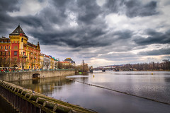 Somewhere in Prague (Syed Ali Warda) Tags: prague architecture artistic architectural amazing arts building buildings bridge canon7d cityscape clouds cityscapes culture dramatic dark darkclouds dusk art black white canon exposure excellent europe exciting flickr greatphotographers towerbridge landscape landscapes landmark monument outdoor observing outside picture photo syedaliwarda sky charlesbridge sunset people