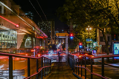 inbound streetcar ll (pbo31) Tags: sanfrancisco night california color nikon d810 april 2017 spring boury pbo31 black dark lightstream motion traffic marketstreet muni platform infinity missiondolores city motionblur orange