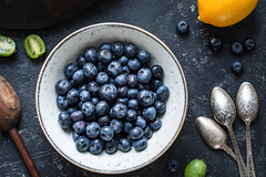 Blueberries and vintage spoons (Arx0nt.) Tags: blueberries food vegan vegetarian vintage cutlery topview bowl fresh healthy dark kiwi detox wood blue nutrition juicy berry background table white summer fruit natural sweet group freshness organic diet delicious dessert raw ripe nature green color closeup old health leaf round above eating teaspoon babyfruit stone vibrant contrast lemon