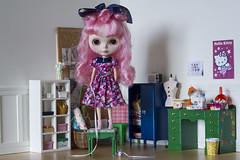 ready to hem (JennWrenn) Tags: blythe doll custom charlottedesfleurs pinkhair sewingroom rement ikeahuset charlotte