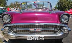 Old American car, Havana Cuba (Lark Ascending) Tags: car vintage amedican classic havana lahabana cuba pink chrome bumper headlights numberplate taxi fluffydice