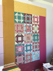 (rosecoloredquilts) Tags: border quilt domesticbliss churndash gold teal pink