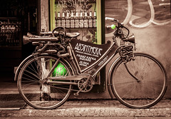 Green Fairy Powered (faranorclarke) Tags: green tourism bike bicycle bar mono nikon europe prague praha absinthe nikkor lightroom greenfairy d90 franzkafkasquare jilkastreet
