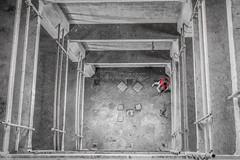 A good photograph is knowing where to stand (Ansel Adams) (Peter Jaspers(now and then)) Tags: red blackandwhite bw holland history netherlands dutch fence leiden blackwhite photographer elevator grain perspective fences olympus panasonic fenced grainelevator lr omd lightroom zuidholland 2014 hff m43 em10 mft southholland meelfabriek meneba graansilo millfactory zijlsingel oosterkerkstraat dekoster desleutels 20mmf17 fencefriday happyfencefriday fencedfriday monumentenlijst frompeterj
