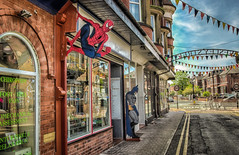 Comic Capers (graeme murray - digitalplaces) Tags: southport shopscomiccartooncharactersbatmanspidermancolorhdrstreet