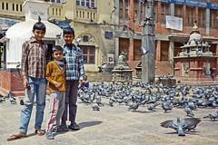 Street Boys (Michael Muntz Photography) Tags: street trip nepal friends vacation boys birds outdoors pigeons kathmandu