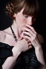 Ann (lucrecia lee) Tags: portrait beauty longhair fringe redhead freckles redhair blackdress duchess longdress periodclothes