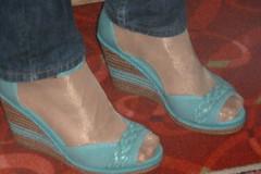 P1010637 (iluvnicehandsandfeets) Tags: feet toes nylon wedgesandals nylonfeet toesinhose