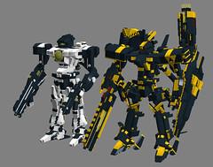 Meteor Trooper alongside Meteor Commander (TF Twitch) Tags: classic mobile digital lego designer space suit armored core mecha mech blacktron