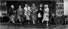 Dancing Queens (Fermat48) Tags: ladies blackandwhite station bike dance cafe 1940 furcoat queens reenactment bycicle ramsbottom