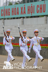 Changing of the Guard at Ho Chi Minh Mausoleum (Altai World Photography) Tags: city army march asia propaganda military south guard security icon east vietnam communist communism changing mausoleum national chi ho southeast guards hanoi minh hochiminh vnm