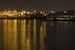 Westside (Calazones Flics) Tags: trees reflection water landscape lights nightscape cranes westseattle pugetsound glowing poles pilings shining lightposts containers seattleharbor saltysrestaurant shiningbrightly