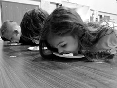 Pie-eating contest {152/365} (therealjoeo) Tags: school blackandwhite pie contest eat 365 365project
