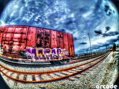MORSE (*Arcade) Tags: sky clouds train graffiti colorful tracks fisheye dope hdr freight morse benched benching iphoneography olloclip uploaded:by=flickrmobile flickriosapp:filter=nofilter