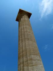 Piercing a bright blue sky (pefkosmad) Tags: blue vacation sky holiday stone temple pillar hellas greece column erection upright acropolis greekislands griechenland rhodes lindos ancientgreece erect dodecanese pefkosjune2014