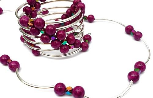 Purple Violet Riverstone Bead Necklace and Bracelet