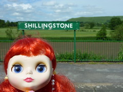 Gloria at Shillingstone train station. She will have a long wait.