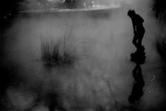 pond at night (asketoner) Tags: winter lake snow statue fog night pond hungary budapest hongrie