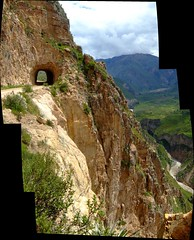 Colca valley tunnel (JohnSeb) Tags: autostitch peru ro river fiume tunnel canyon rivire per valley fluss colca chivay can  rivier johnseb  southamerica2012