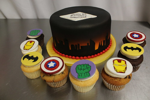 Super hero cupcakes and Skyline cake