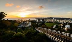Picture Postcard (ajecaldwell11) Tags: light newzealand sky clouds sunrise dawn harbour wellington cablecar kelburn
