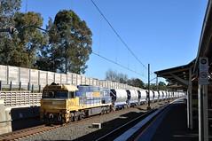 2196 stone train with distributed power (highplains68) Tags: railroad sydney rail railway australia nsw newsouthwales aus 2196 stonetrain boral ssfl chesterhill southernsydneyfreightline