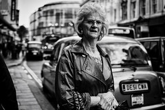 The City, Revisited (Ross Magrath) Tags: from street camera old city uk summer portrait england bw woman white black colour bus fac