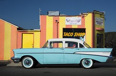 san diego : taco shop and chevrolet (William Dunigan) Tags: city urban food color classic chevrolet beach car shop photography restaurant la san pacific diego william mexican taco american jolla fragment dunigan