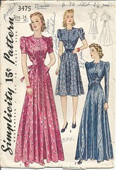 Simplicity 3475 front (ReneeAndTheCatsMeow) Tags: house vintage pattern dress robe sewing coat 1940 dressing 1940s simplicity hostess gown 3475